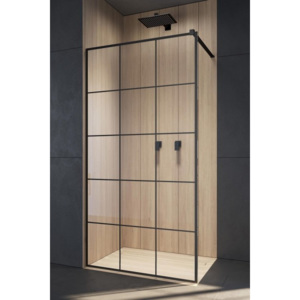 Cabina de dus Walk-In Radaway Modo New Black II Factory 155 x H200 cm profil negru mat