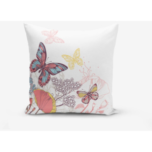 Față de pernă cu amestec din bumbac Minimalist Cushion Covers Special Design Colorful Butterfly, 45 x 45 cm